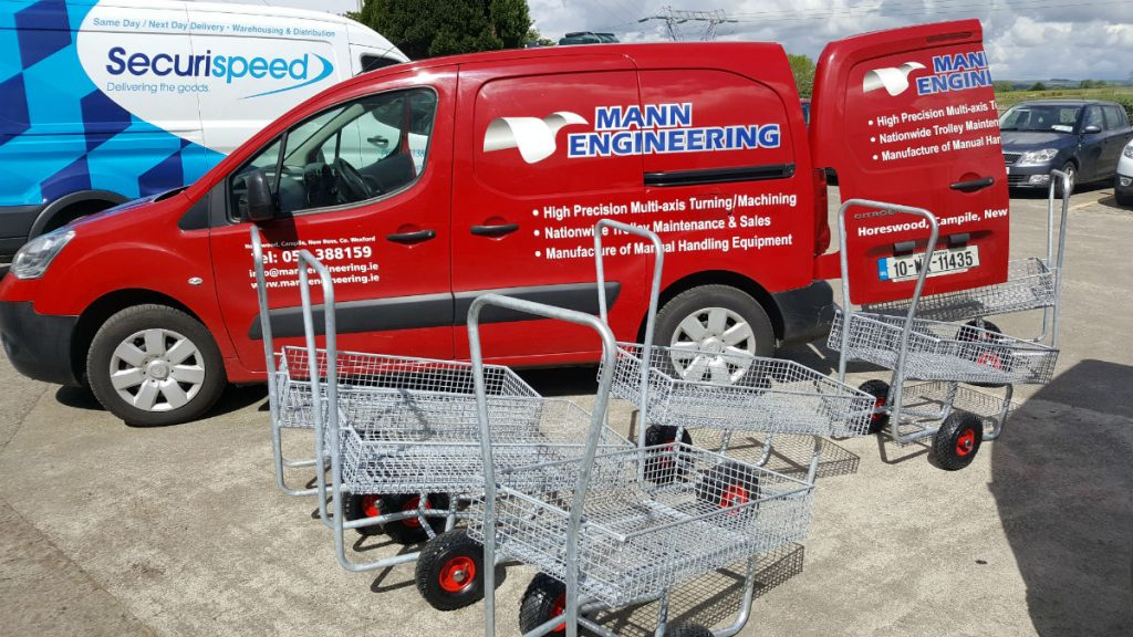 Photo shows New Garden Centre Trolleys being loaded into one of our vans for delivery to Coolaught Garden Centre last week